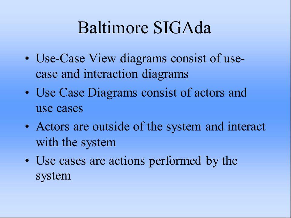 Baltimore SIGAda Use-Case View diagrams consist of use- case and interaction diagrams Use Case Diagrams consist of actors and use cases Actors are out