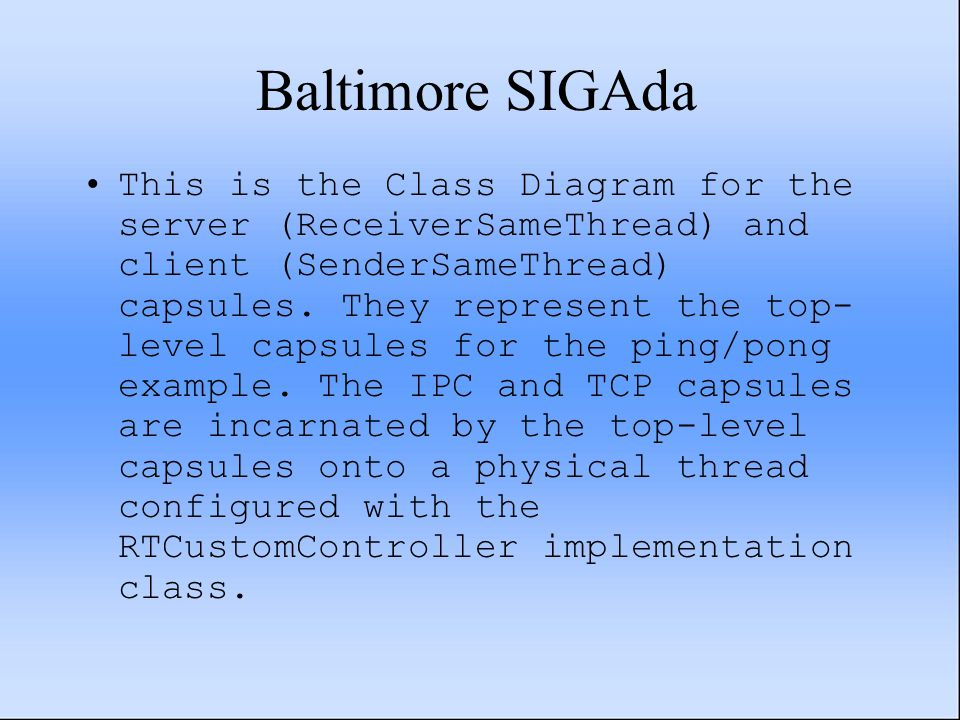 Baltimore SIGAda This is the Class Diagram for the server (ReceiverSameThread) and client (SenderSameThread) capsules.