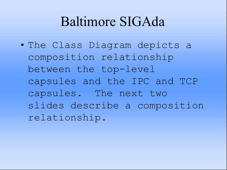 Baltimore SIGAda The Class Diagram depicts a composition relationship between the top-level capsules and the IPC and TCP capsules. The next two slides