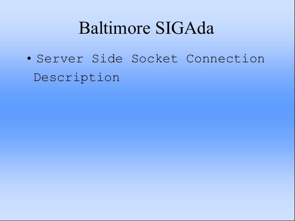 Baltimore SIGAda Server Side Socket Connection Description