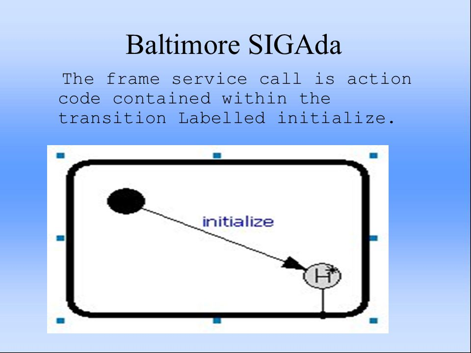 Baltimore SIGAda The frame service call is action code contained within the transition Labelled initialize.