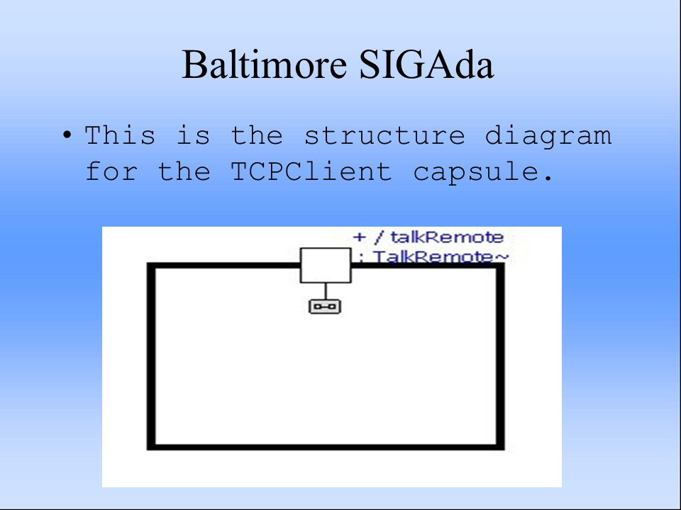 Baltimore SIGAda This is the structure diagram for the TCPClient capsule.