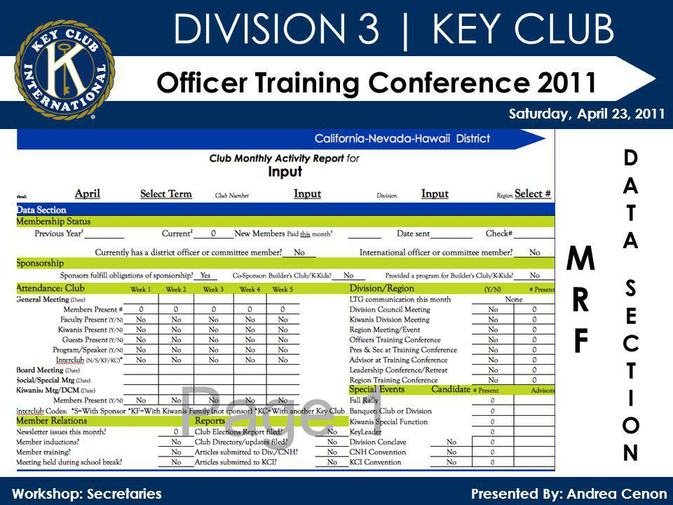 Officer Training Conference 2011 Presented By: Andrea Cenon Workshop: Secretaries DIVISION 3 | KEY CLUB Saturday, April 23, 2011 MRFMRF DATASECTIONDAT
