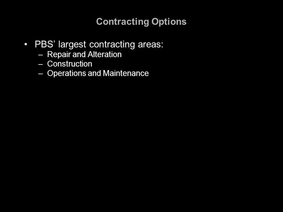 Contracting Options PBS' largest contracting areas: –Repair and Alteration –Construction –Operations and Maintenance