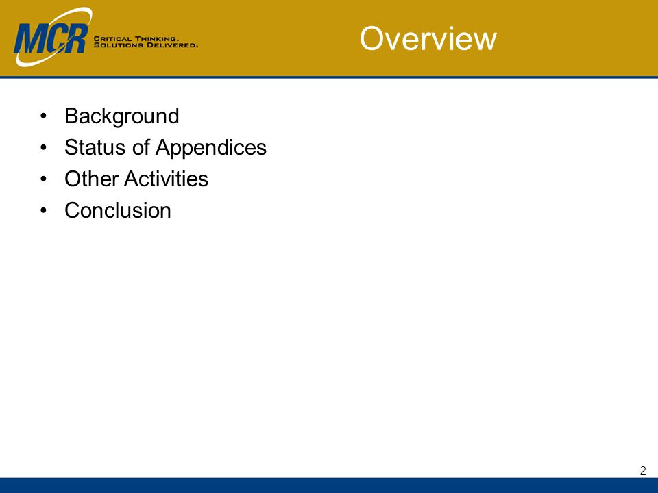 Overview Background Status of Appendices Other Activities Conclusion 2