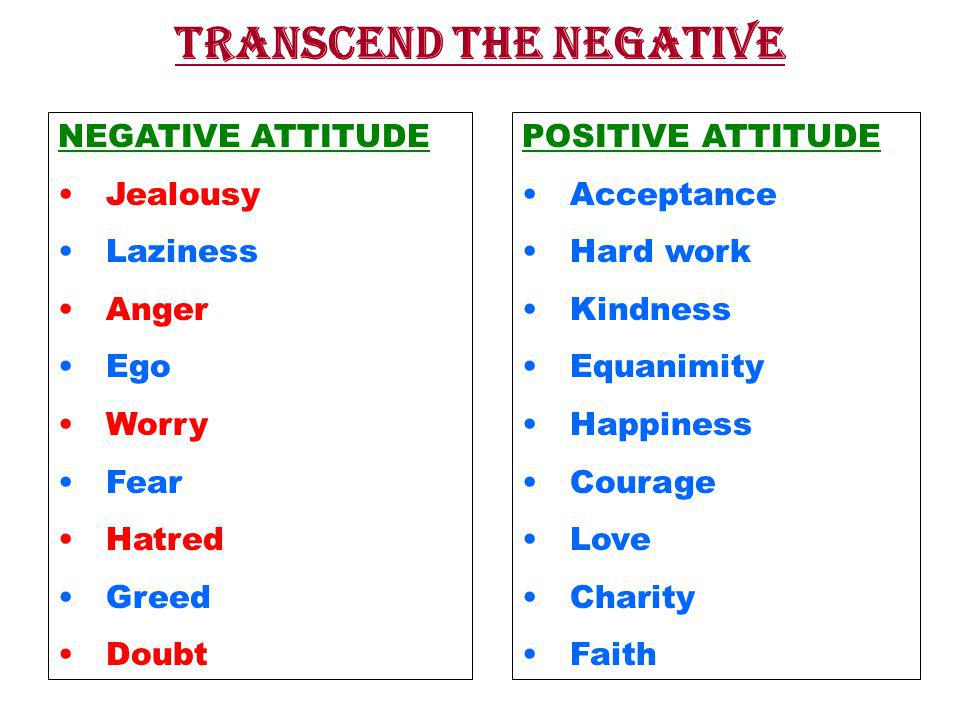 NEGATIVE ATTITUDE Jealousy Laziness Anger Ego Worry Fear Hatred Greed Doubt POSITIVE ATTITUDE Acceptance Hard work Kindness Equanimity Happiness Courage Love Charity Faith TRANSCEND THE NEGATIVE