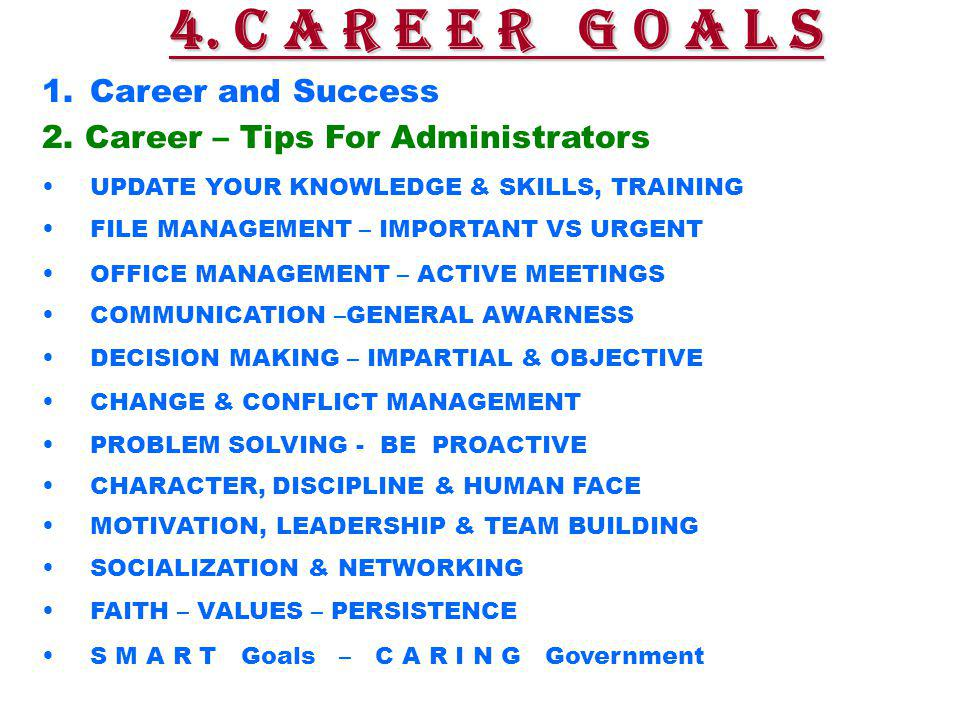 1.Career and Success 2.