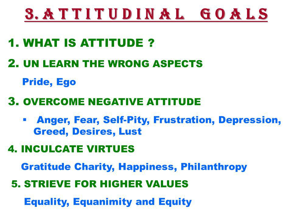 1.WHAT IS ATTITUDE . 2. UN LEARN THE WRONG ASPECTS Pride, Ego 3.