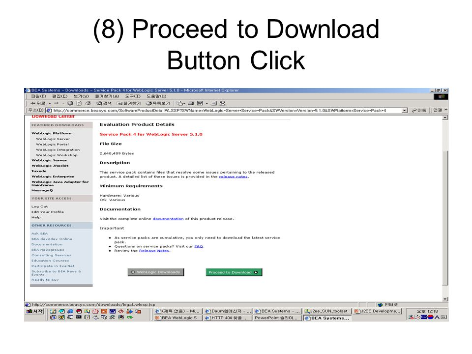 (8) Proceed to Download Button Click