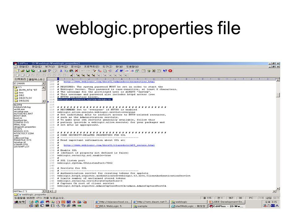 weblogic.properties file