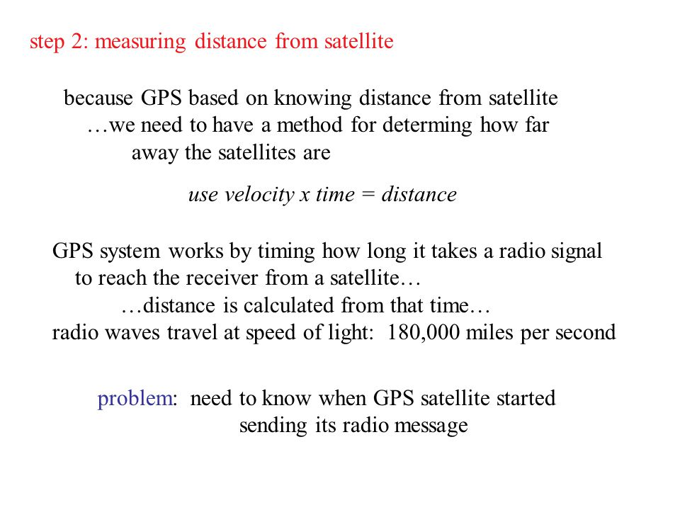 step 2: measuring distance from satellite because GPS based on knowing distance from satellite …we need to have a method for determing how far away th