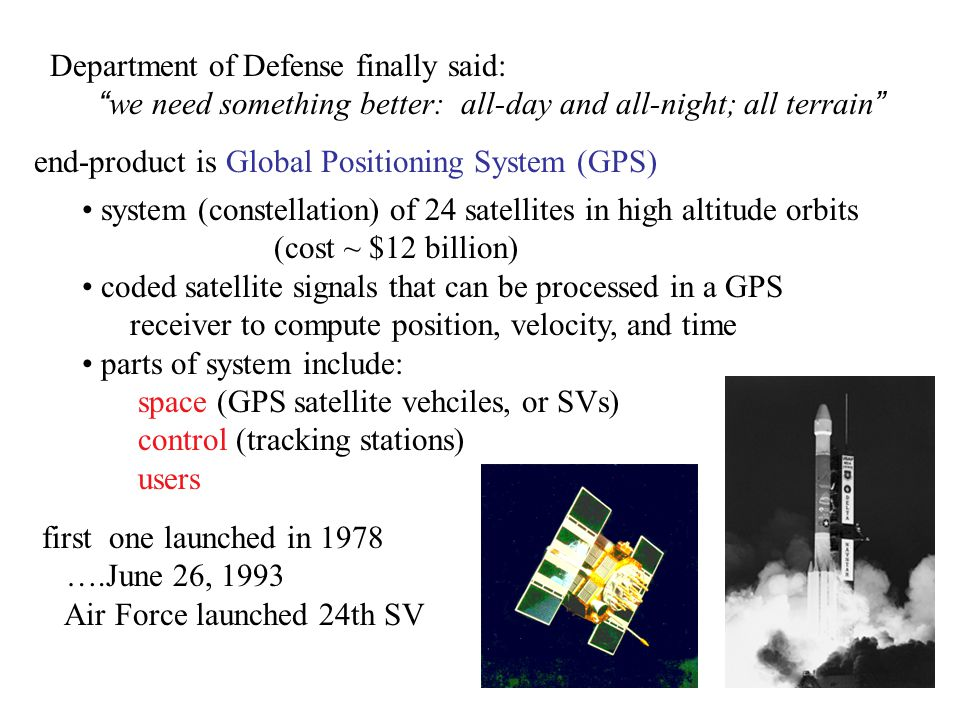 "Department of Defense finally said: "" we need something better: all-day and all-night; all terrain "" end-product is Global Positioning System (GPS) sy"