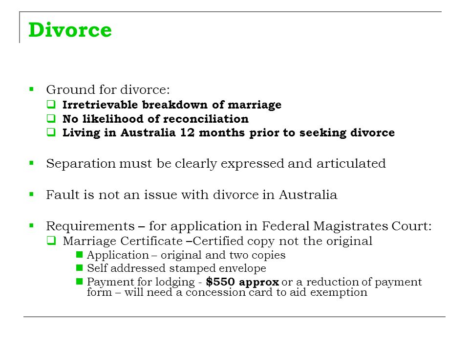 Divorce – Filing after service After the documents have been served on your spouse you need to make a copy of the service forms and file the original at the Family Law Registry If you attend the Court hearing, take the copy of your service forms with you