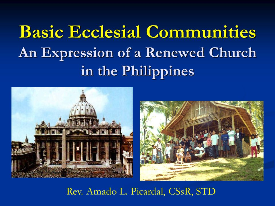 Basic Ecclesial Communities An Expression of a Renewed Church in the Philippines Rev. Amado L. Picardal, CSsR, STD