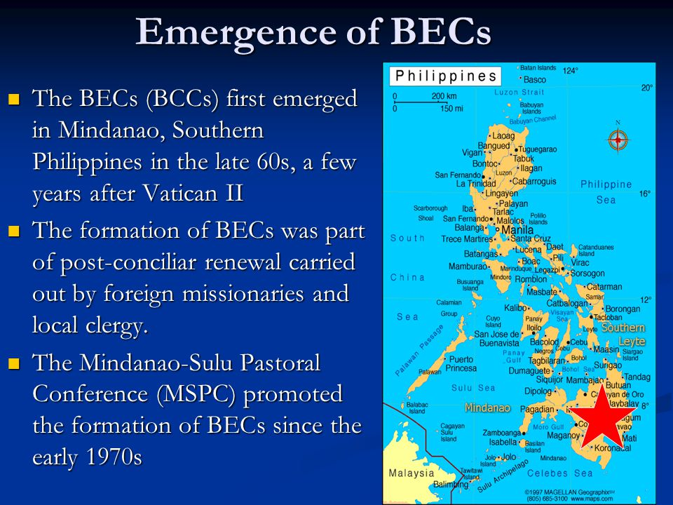 Emergence of BECs The BECs (BCCs) first emerged in Mindanao, Southern Philippines in the late 60s, a few years after Vatican II The BECs (BCCs) first
