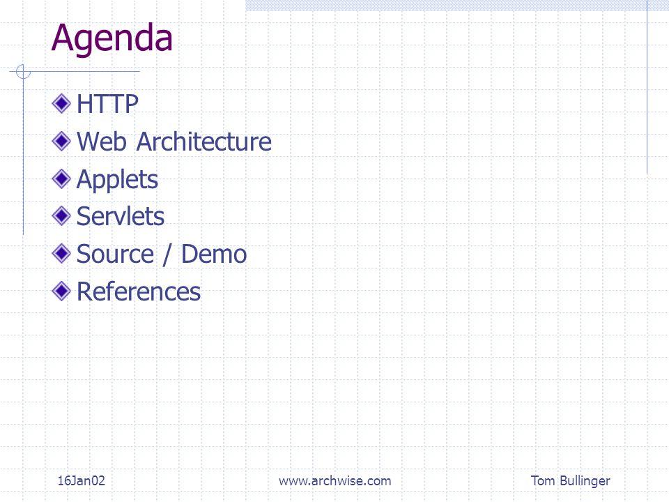 Tom Bullinger 16Jan02www.archwise.com Agenda HTTP Web Architecture Applets Servlets Source / Demo References