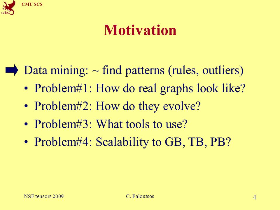 CMU SCS NSF tensors 2009C.Faloutsos 5 Graphs - why should we care.