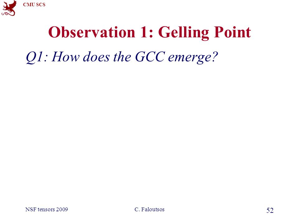CMU SCS NSF tensors 2009C. Faloutsos 52 Observation 1: Gelling Point Q1: How does the GCC emerge
