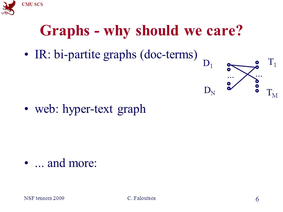 CMU SCS NSF tensors 2009C.Faloutsos 97 Scalability How about if graph/tensor does not fit in core.