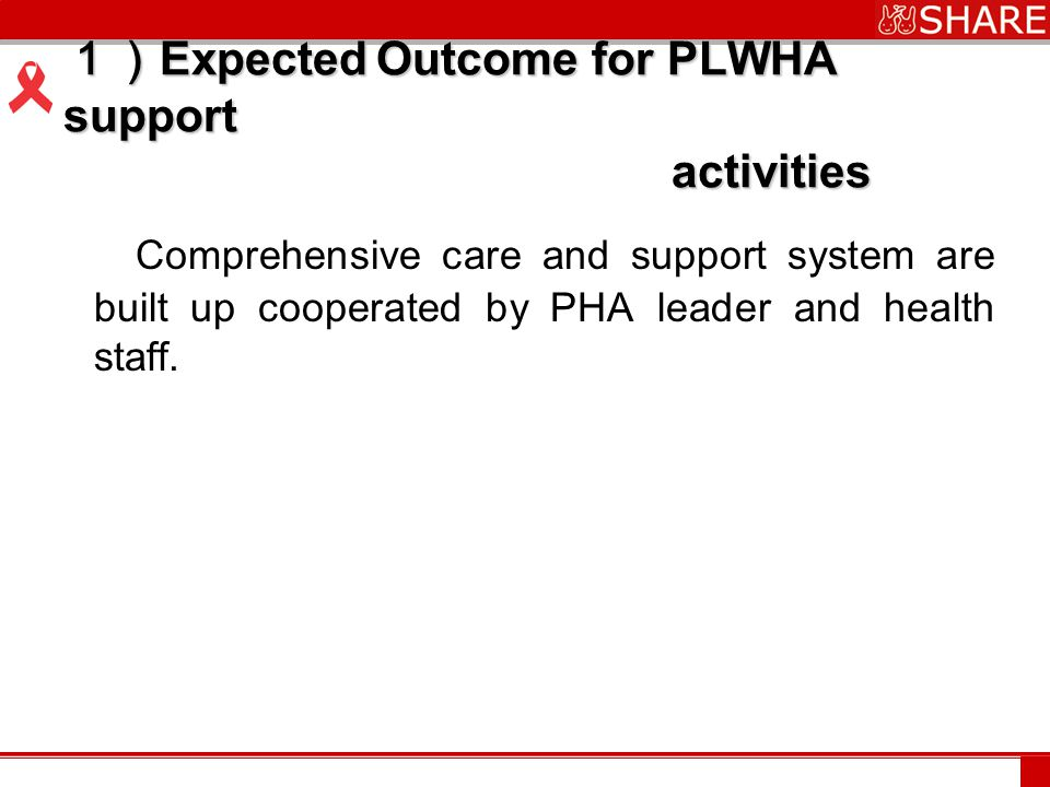 www.***.com 1) Expected Outcome for PLWHA support activities Comprehensive care and support system are built up cooperated by PHA leader and health staff.