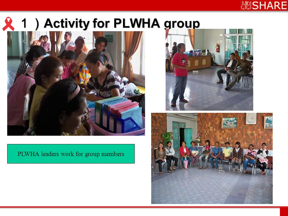 www.***.com 1) Activity for PLWHA group PLWHA leaders work for group members