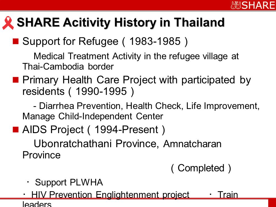 www.***.com SHARE Acitivity History in Thailand Support for Refugee ( 1983-1985 ) Medical Treatment Activity in the refugee village at Thai-Cambodia border Primary Health Care Project with participated by residents ( 1990-1995 ) - Diarrhea Prevention, Health Check, Life Improvement, Manage Child-Independent Center AIDS Project ( 1994-Present ) Ubonratchathani Province, Amnatcharan Province ( Completed ) ・ Support PLWHA ・ HIV Prevention Englightenment project ・ Train leaders