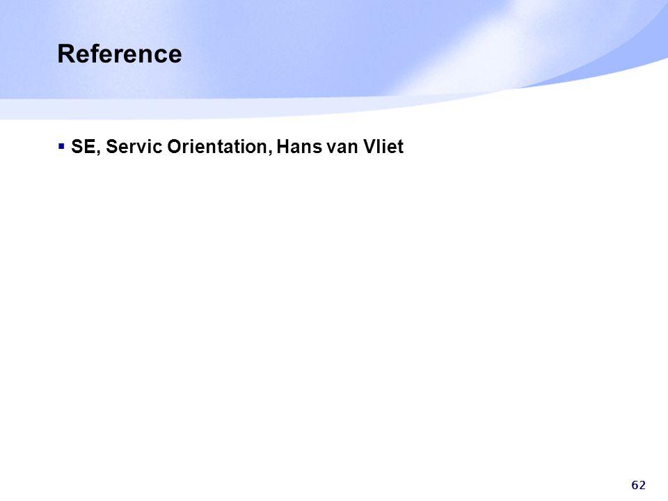 Reference  SE, Servic Orientation, Hans van Vliet 62
