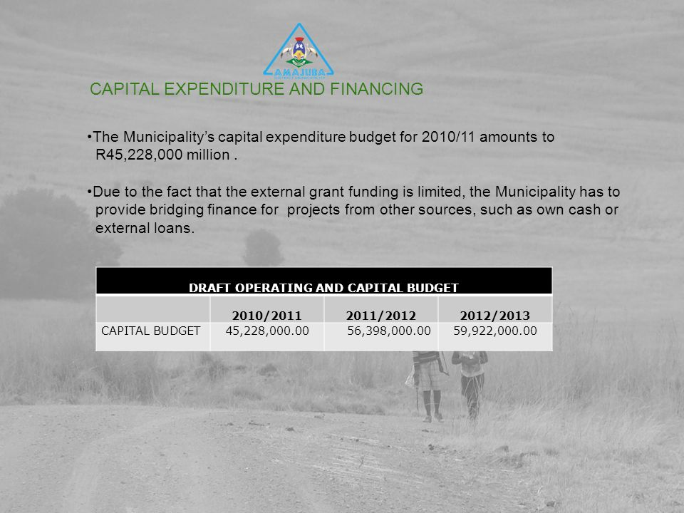 CAPITAL EXPENDITURE AND FINANCING The Municipality's capital expenditure budget for 2010/11 amounts to R45,228,000 million.
