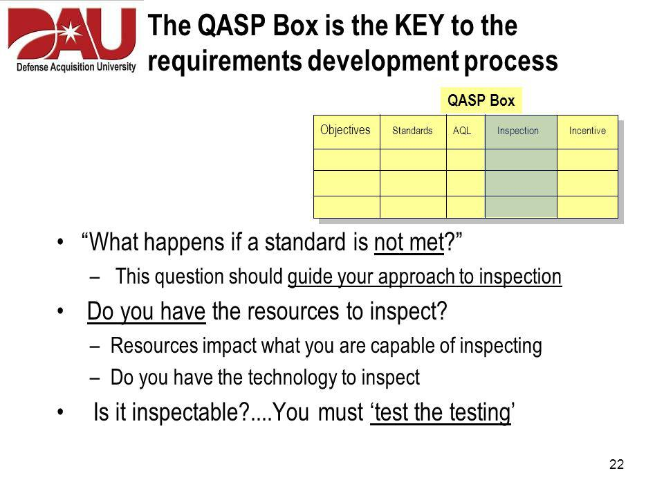 22 The QASP Box is the KEY to the requirements development process What happens if a standard is not met – This question should guide your approach to inspection Do you have the resources to inspect.