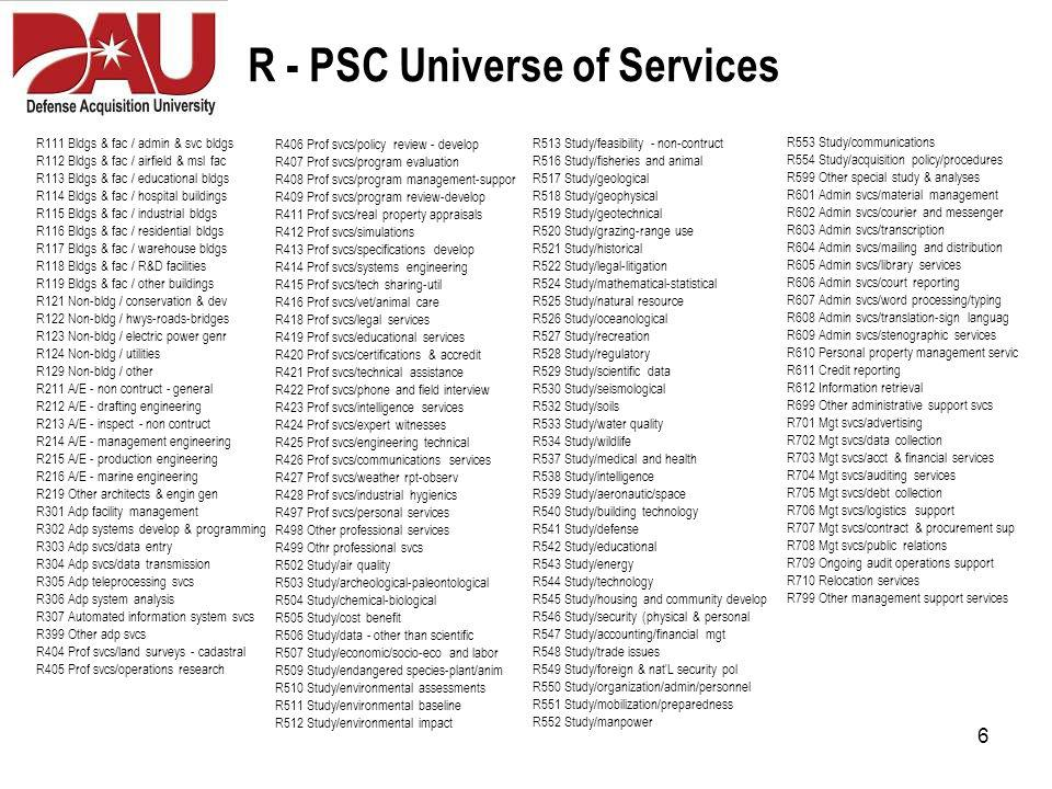7 J - PSC Universe of Services J010 Maint-rep of weapons J011 Maint-rep of nuclear ordnance J012 Maint-rep of fire cont eq J013 Maint-rep of ammo & explosives J014 Maint-rep of guided missiles J015 Maint-rep of aircraft J016 Maint-rep of aircraft components J017 Maint-rep of aircraft ground eq J018 Maint-rep of space vehicles J019 Maint-rep of ships-sml craft-docks J020 Maint-rep of ship & marine eq J022 Maint-rep of railway eq J023 Maint-rep of vehicles-trailers-cyc J024 Maint-rep of tractors J025 Maint-rep of vehicular eq J026 Maint-rep of tires & tubes J028 Maint-rep of engines & turbines J029 Maint-rep of engine accessories J030 Maint-rep of mech power trans eq J031 Maint-rep of bearings J032 Maint-rep of woodworking machine J034 Maint-rep of metalwork machine J035 Maint-rep of service & trade eq J036 Maint-rep of sp industry machinery J037 Maint-rep of agriculture machine J038 Maint-rep of construct eq J039 Maint-rep of materials handling eq J040 Maint-rep of rope-cable-chain J041 Maint-rep of refrigeration - ac eq J042 Maint-rep of fire-rescue-safety eq J043 Maint-rep of pumps & compressors J044 Maint-rep of furnace-nuclear reac J045 Maint-rep of plumbing-heating eq J046 Maint-rep of water purification eq J047 Maint-rep of pipe-tubing-hose J048 Maint-rep of valves J049 Maint-rep of maint repair shop eq J051 Maint-rep of hand tools J052 Maint-rep of measuring tools J053 Maint-rep of hardware & abrasives J054 Maint-rep of prefab structures J055 Maint-rep of lumber & millwork J056 Maint-rep of construct material J058 Maint-rep of communication eq J059 Maint-rep of elect-elct eq J060 Maint-rep of fiber optics mater J061 Maint-rep of power distribution eq J062 Maint-rep of lighting fixtures J063 Maint-rep of alarm & signal system J065 Maint-rep of medical-dental-vet eq J066 Maint-rep of instruments & lab eq J067 Maint-rep of photographic eq J068 Maint-rep of chemical products J069 Maint-rep of training aids-devices J070 Maint-rep of adp eq & supplies J071 Maint-rep of furniture 80 Separate PSC Codes J072 Maint-rep of household furnishings J073 Maint-rep of food prep-serving eq J074 Maint-rep of office machines J075 Maint-rep of office supplies J076 Maint-rep of books-maps-pubs J077 Maint-rep of musical inst-radio-tv J078 Maint-rep of recreational eq J079 Maint-rep of cleaning eq J080 Maint-rep of brushes-paints-sealer J081 Maint-rep of containers-packaging J083 Maint-rep of textiles-leather-furs J084 Maint-rep of clothing - individ eq J085 Maint-rep of toiletries J087 Maint-rep of agricultural supplies J088 Maint-rep of live animals J089 Maint-rep of subsistence J091 Maint-rep of fuels-lubricants-oils J093 Maint-rep of nonmetalic fab mat J094 Maint-rep of nonmetalic crude mat J095 Maint-rep of metal bars & sheets J096 Maint-rep of ores & minerals J099 Maint-rep of misc eq J998 Non-nuclear ship repair (east) J999 Non-nuclear ship repair (west)