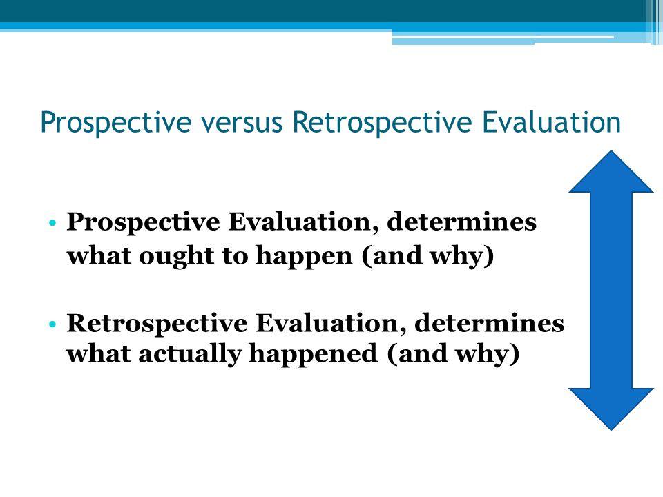 Prospective versus Retrospective Evaluation Prospective Evaluation, determines what ought to happen (and why) Retrospective Evaluation, determines wha