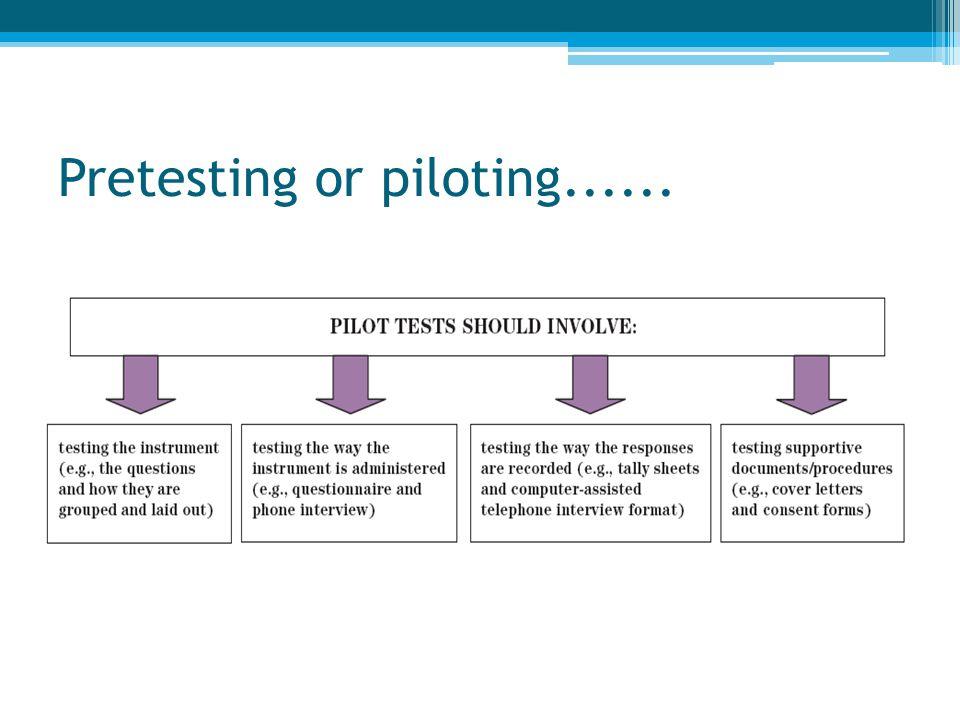 Pretesting or piloting......