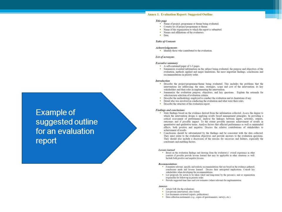 Example of suggested outline for an evaluation report