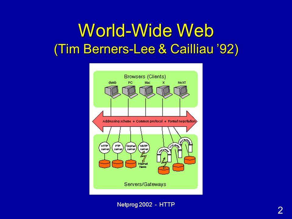 2 Netprog 2002 - HTTP World-Wide Web (Tim Berners-Lee & Cailliau '92)