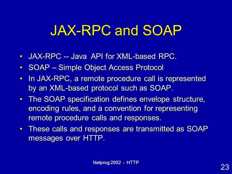 23 Netprog 2002 - HTTP JAX-RPC and SOAP JAX-RPC -- Java API for XML-based RPC.JAX-RPC -- Java API for XML-based RPC.