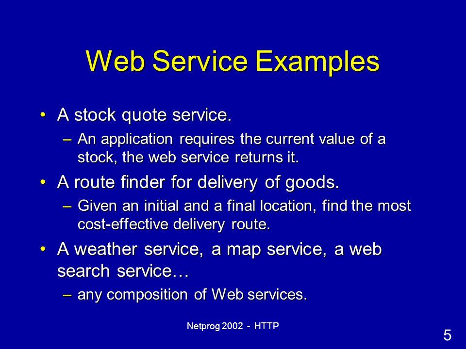 5 Netprog 2002 - HTTP Web Service Examples A stock quote service.A stock quote service.