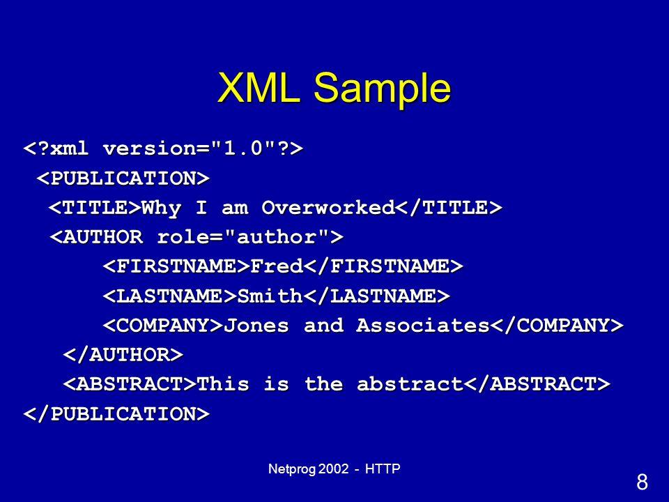 9 Netprog 2002 - HTTP XML DTD Sample <!DOCTYPE PUBLICATION <!DOCTYPE PUBLICATION [ [ <!ELEMENT AUTHOR (FIRSTNAME, LASTNAME, <!ELEMENT AUTHOR (FIRSTNAME, LASTNAME, (UNIVERSITY | COMPANY)?)> (UNIVERSITY | COMPANY)?)> ]> ]>