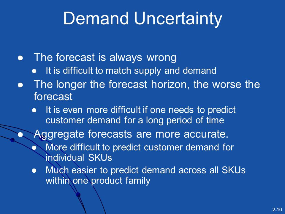 2-10 Demand Uncertainty The forecast is always wrong It is difficult to match supply and demand The longer the forecast horizon, the worse the forecas