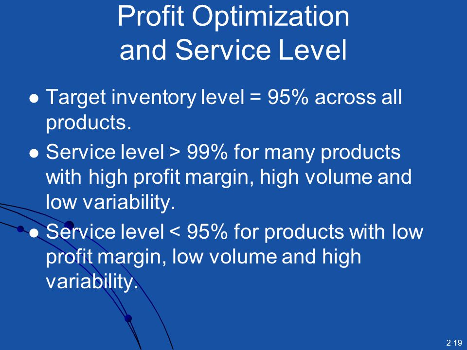 2-19 Target inventory level = 95% across all products.