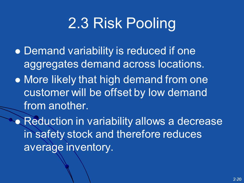 2-20 2.3 Risk Pooling Demand variability is reduced if one aggregates demand across locations. More likely that high demand from one customer will be