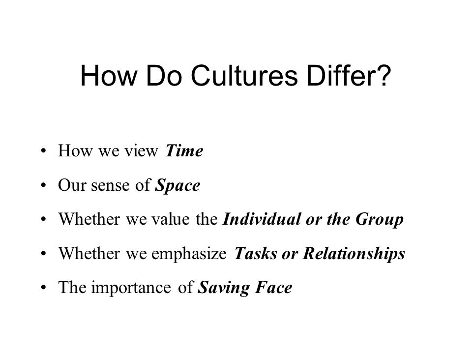 How Do Cultures Differ? How we view Time Our sense of Space Whether we value the Individual or the Group Whether we emphasize Tasks or Relationships T