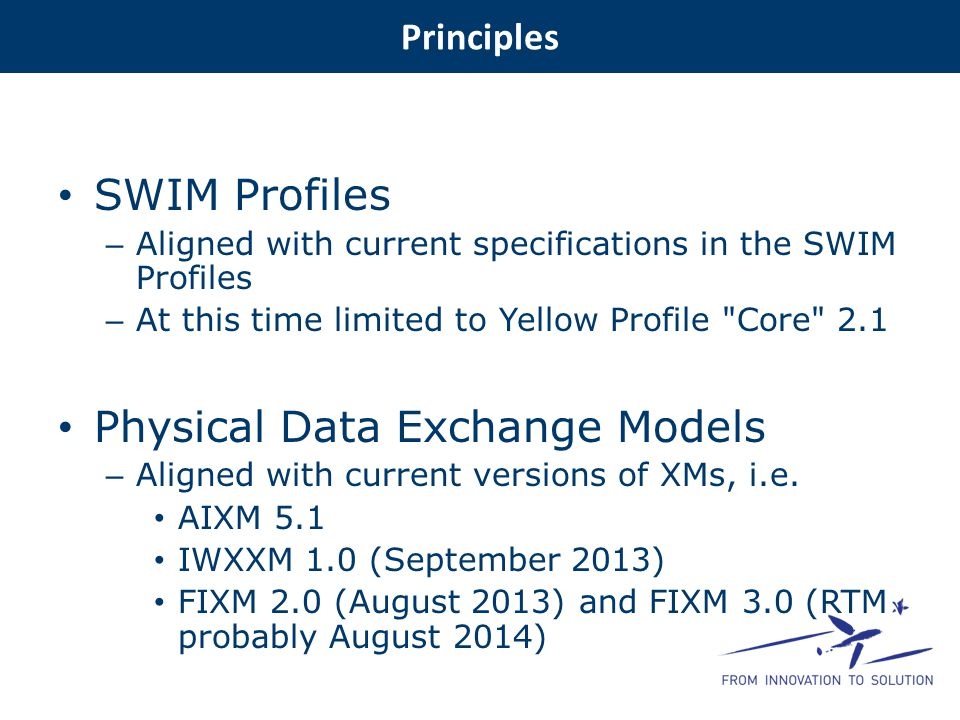 SWIM Profiles – Aligned with current specifications in the SWIM Profiles – At this time limited to Yellow Profile