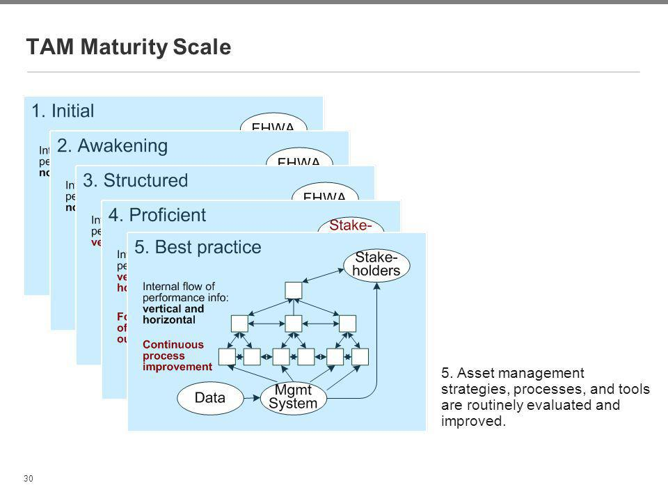 30 TAM Maturity Scale 5. Asset management strategies, processes, and tools are routinely evaluated and improved.