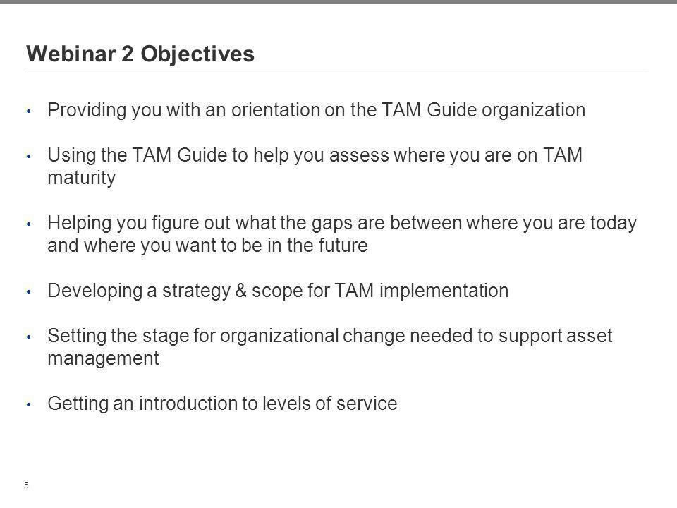 5 Webinar 2 Objectives Providing you with an orientation on the TAM Guide organization Using the TAM Guide to help you assess where you are on TAM mat