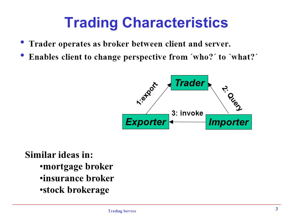 Trading Service 3 Trading Characteristics  Trader operates as broker between client and server.