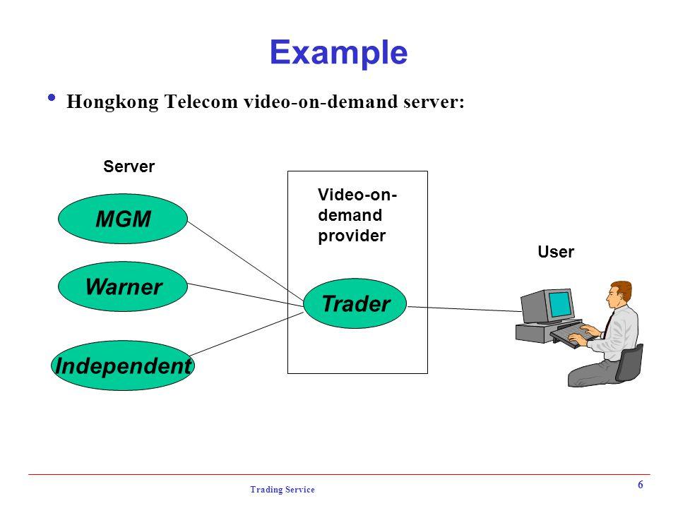 Trading Service 6 Example  Hongkong Telecom video-on-demand server: Trader MGM Warner Independent Video-on- demand provider Server User