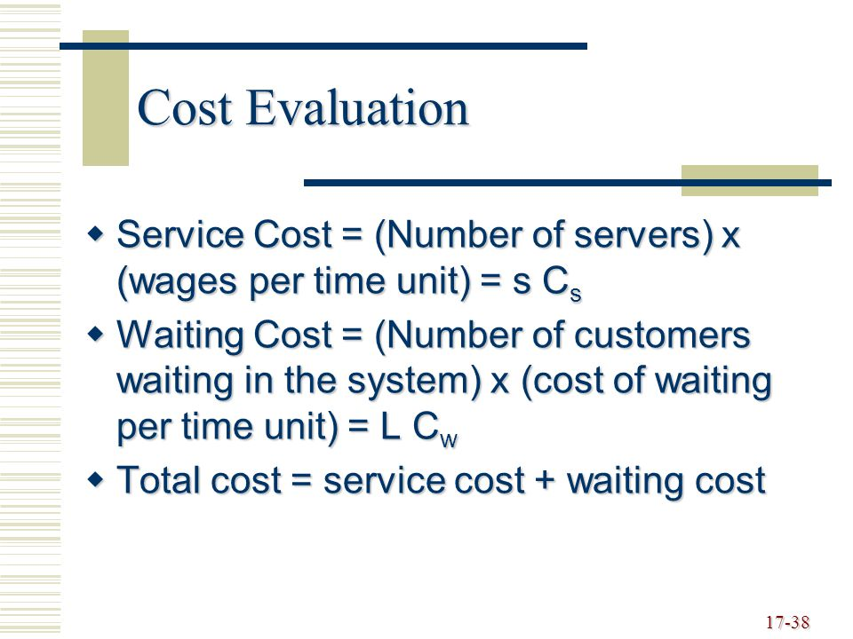 17-38 Cost Evaluation  Service Cost = (Number of servers) x (wages per time unit) = s C s  Waiting Cost = (Number of customers waiting in the system) x (cost of waiting per time unit) = L C w  Total cost = service cost + waiting cost
