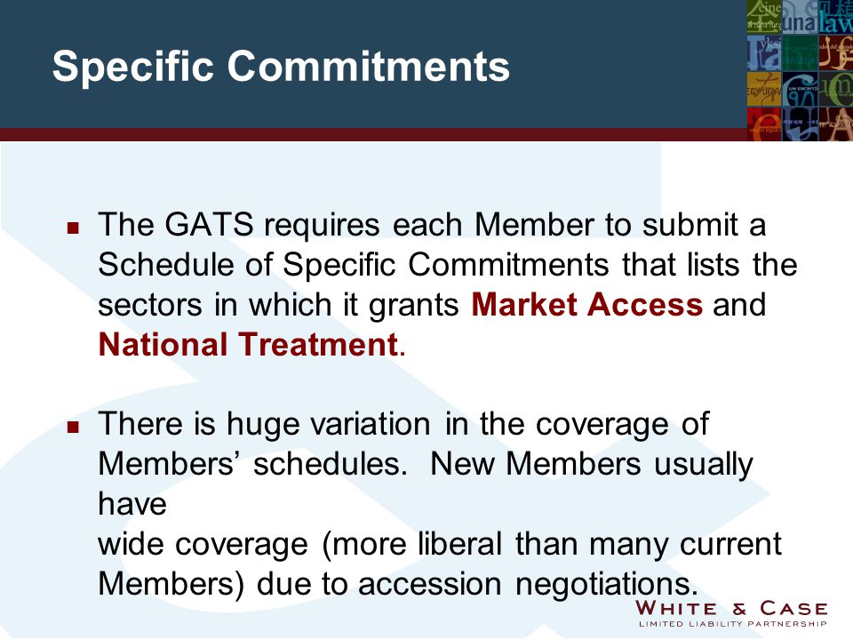 Specific Commitments n The GATS requires each Member to submit a Schedule of Specific Commitments that lists the sectors in which it grants Market Access and National Treatment.