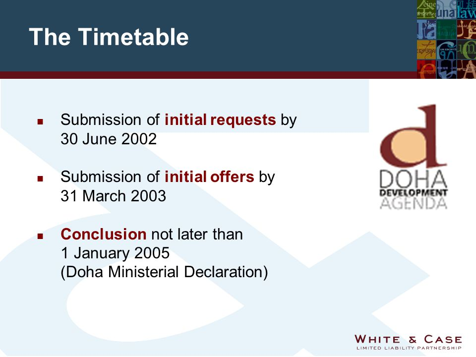 The Timetable n Submission of initial requests by 30 June 2002 n Submission of initial offers by 31 March 2003 n Conclusion not later than 1 January 2005 (Doha Ministerial Declaration)