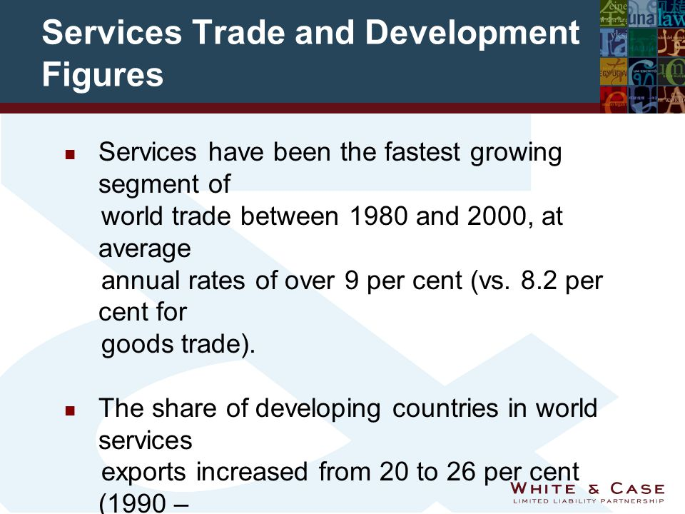 Services Trade and Development Figures Services have been the fastest growing segment of world trade between 1980 and 2000, at average annual rates of over 9 per cent (vs.